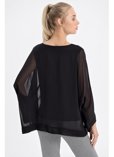 Jument Mary Şifon Garnili Salaş Uzun Kol Bluz Siyah